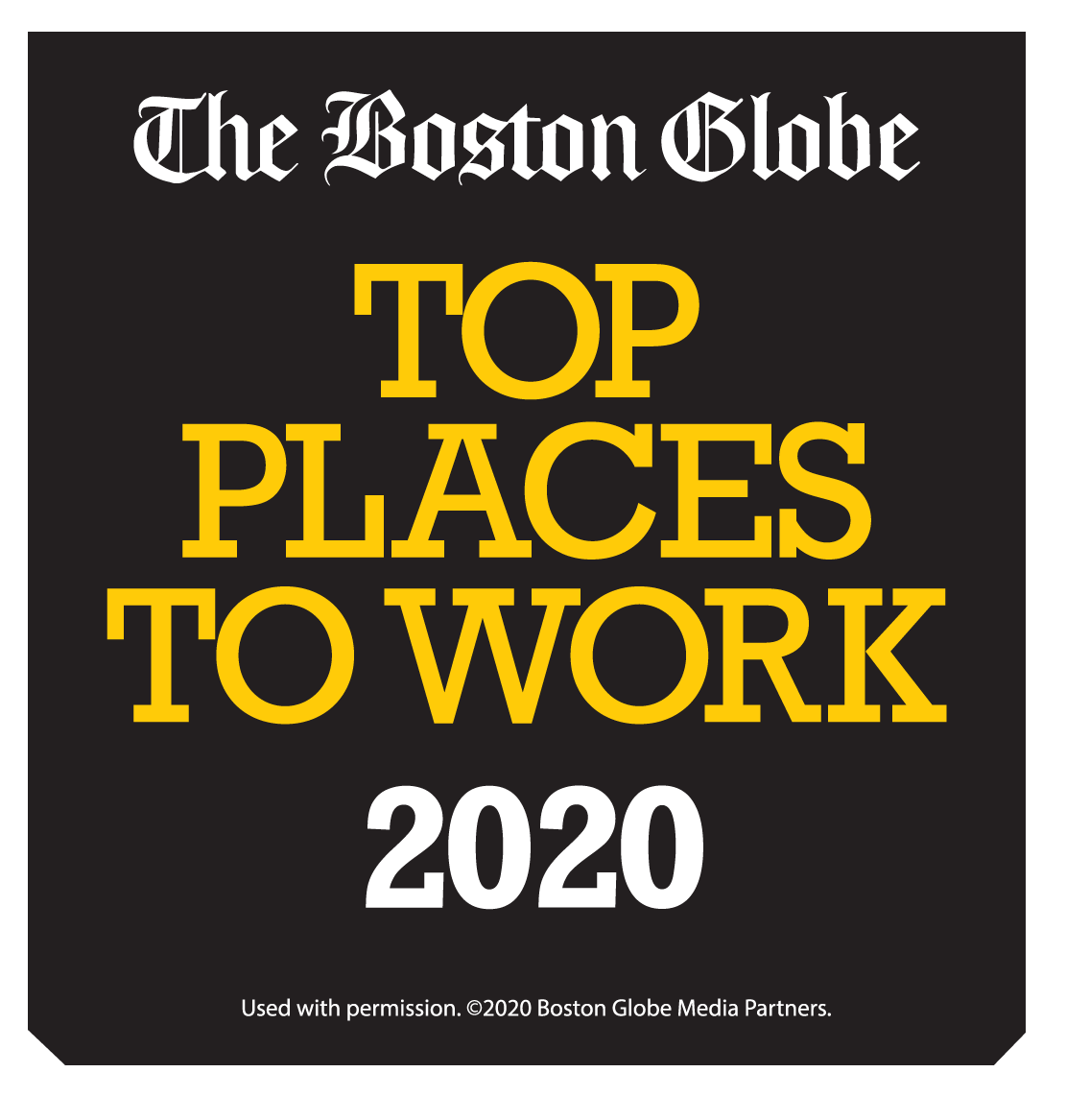 The Boston Globe Top place to work 2020 badge