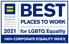 Human Rights Campaign's Corporate Equality Index(CEI) Best places to work for LGBTQ Equality badge