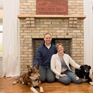 Image of the author Katharine Gebhardt, her husband, Rob, and their two dogs.