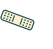 Symbol of heart with band-aid