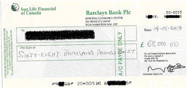 Sample of a fake cheque